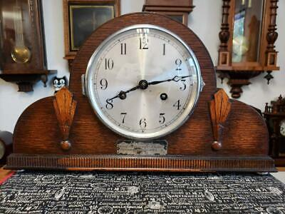 Oak Art Deco Franz Hermle & Sons Mantle Clock