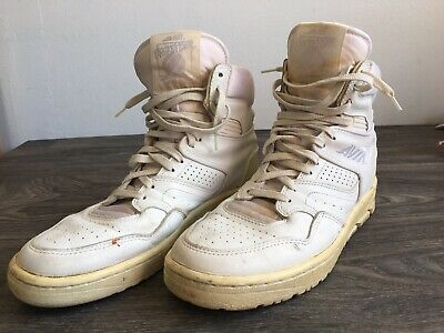 fadc4c26adb9 Vtg AVIA Hi High Top 80 s Leather Shoes Basketball Sneakers White US Men 11  EUC