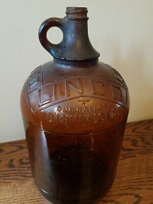 "Vintage Antique LINCO Bleach 12"" Tall Brown Glass Bottle Gallon."