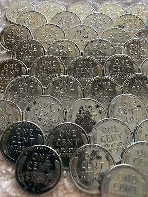 1943 P Lincoln Steel CENTS from Estate Uncirculated Steel Cents spotty but still