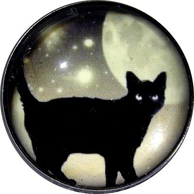 Lg Sz Black Cat at Night w Moon and Stars BC 08 Crystal Dome Button FREE US SHIP