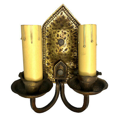 Antique Arts & Crafts Hammered Brass Double Light Wall Sconce