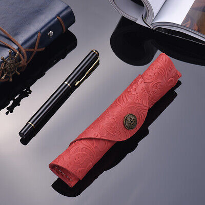 Antique Leather Pen Case Fountain Handmade Sleeve Bag Pouch Protector for K2O0