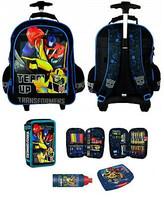 TRANSFORMERS OPTIMUS PRIME zaino TROLLEY scuola Astuccio con accessori Bottigli