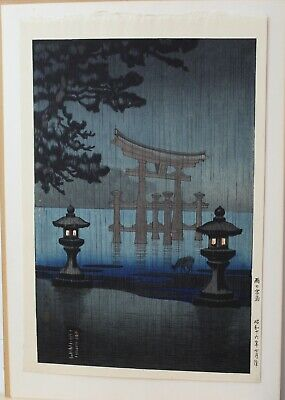 ORIGINAL. vintage Japanese woodblock print Koitsu of night Temple.