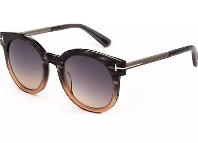 16bafe143c24c Tom Ford JANINA Sunglasses Black Grey Tan Stripe Frame Grey Gradient TF435-
