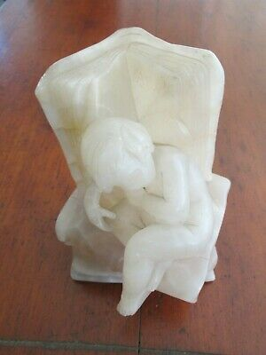 Antique Alabaster Figure Boy Asleep With Books