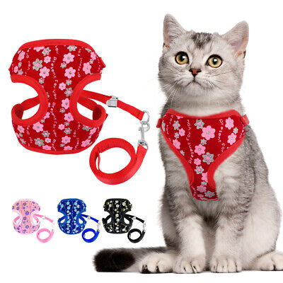 Cat Walking Jacket Harness & Leash Escape Proof Pet Puppy Dog Clothes Mesh Vest