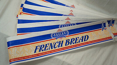 """New French Bread Paper Bags Retail ~ 20.5"""" x 6"""" ~ Waxed White Blue ~ 60 Count"""