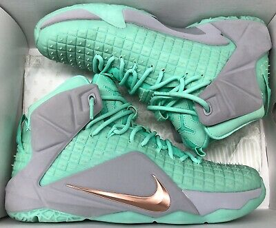 sneakers for cheap 89b8d 0bfe3 Nike Lebron XII 12 ID Wolf Grey Mint Green Miami Dolphins Sz 10.5