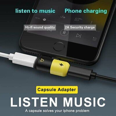 Dual Lightning Audio Headphone Adapter Charger Splitter for iPhone 7 8 Plus X XS