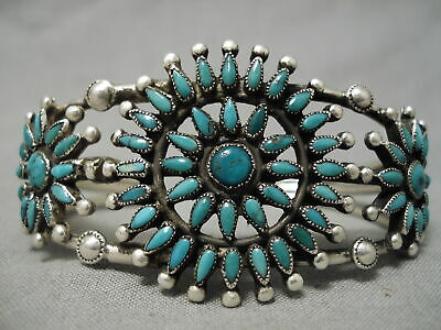 Exceptionally Rare 1930'S Vintage Zuni Turquoise Sterling Silver Bracelet