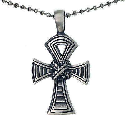 Ankh cross of life Key of the Nile knot Antique silver Pewter Pendant Necklace