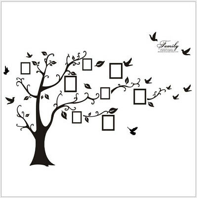 Removable family tree bird wall sticker photo picture frame DIY room decal black