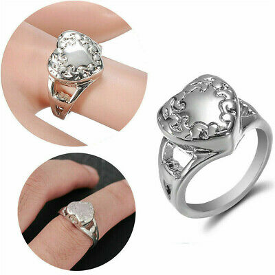 Women Alloy Silver Love Heart Ring Cremation Urn Memorial Ash Rings Size 6-9
