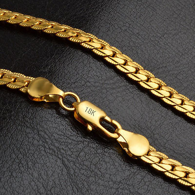 Fashion 18K Gold Plated Stainless Steel Flat Necklace Chain Women Men Jewelry #1
