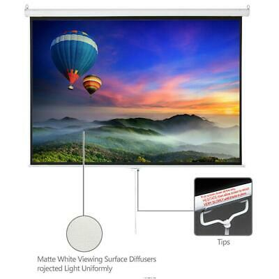 "100"" Home Movie Manual Projection Screen Pull Down Projector White"