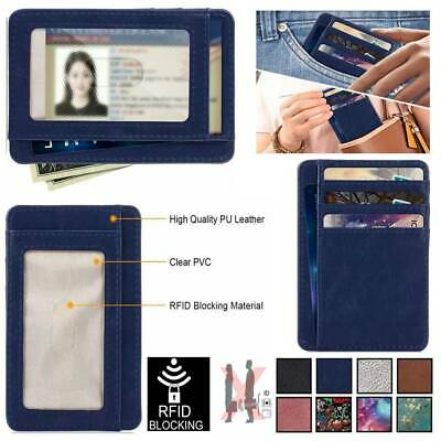 RFID Blocking PU Leather Credit Card Holder Wallet Case Sleeve Protector Cover