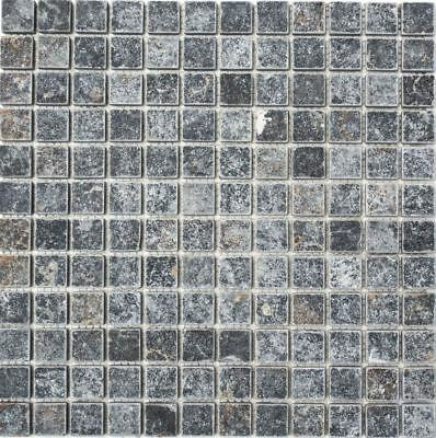 Mosaic Tile Marble Natural Stone Black Nero Antique floor 36-0306-A_b | 1 sheet