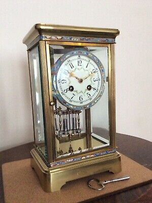 Antique French Four Glass Clock. Champleve Detail