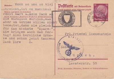 Germany-1940 WW 2 15 Pf lilac PS postcard Jewish related cover to Switzerland