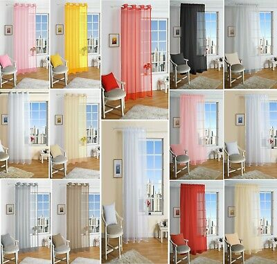 Lucy Eyelet Ring Top Voile Curtain Panel Slot Top Net Voile Curtains All Sizes