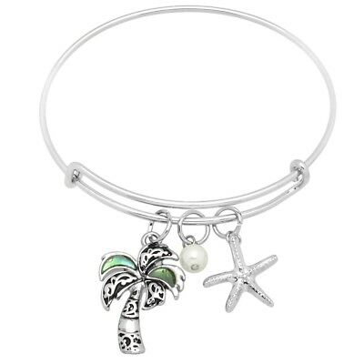 776783732eb Abalone Shell Bracelet Thin Charm Bangle Starfish PALM TREE Mother Pearl  SILVER