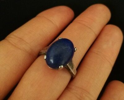 Ring Antique Sterling Silver Art Deco and Lapis Lazuli