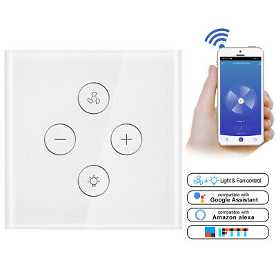 AC100-240V 2.4G WiFi Touch Panel Smart Fan Light Switch For Google Alexa Control