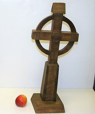 Antique Irish Arts & Crafts Wooden Celtic Cross Large Hand Made & Carved 24in
