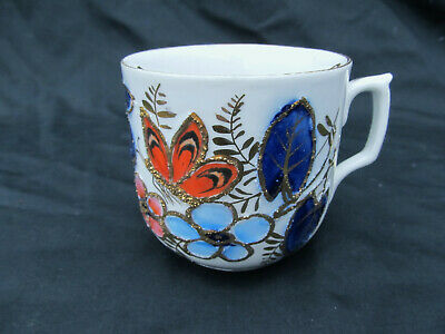 Beautiful Antique Hand Painted Butterfly & Floral Porcelain Mustache Cup