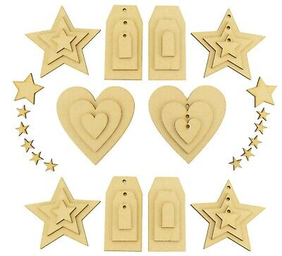 Wooden Mdf hearts stars and luggage tags. Craft shapes blanks and cut outs