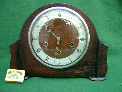 ORIGINAL 1930s ART DECO 14 DAY MANTLE CLOCK WESTMINSTER CHIME ENFIELD MOVEMENT a