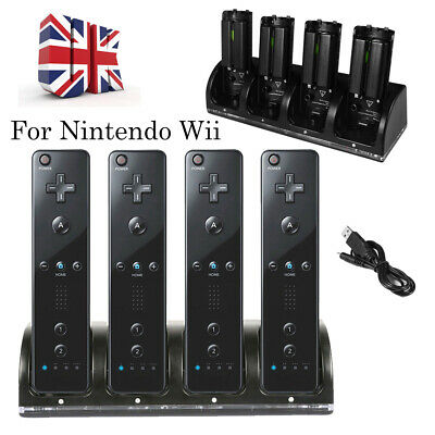 Charger Dock Station & 4 X Charging Battery Pack For Nintendo Wii Remote Control