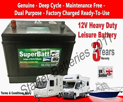 VDC 120AH 12V Deep Cycle Leisure Battery Caravan Motorhome Boat Solar Heavy Duty