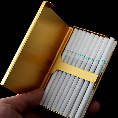 Gold Thin Slim Aluminum Wire Drawing 20 Pc Cigarette Hard Box Case Holder