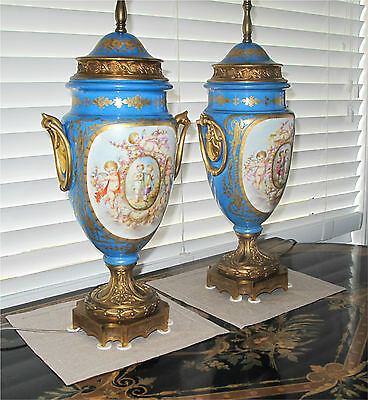 Sevres Porcelain Antique Vase Urn Lamp Celeste Blue Gilded Bronze Ormolu 1850