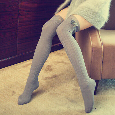 Autumn Winter Breathable Stretch Lace Bow Thigh High Stockings Cotton Stock Jian