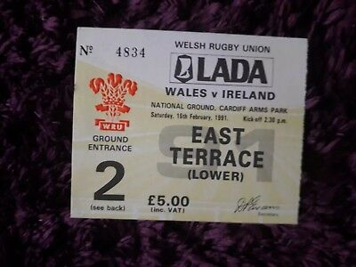 1991-Wales V Ireland-Five Nations-International Rugby Union Ticket-Excellent-Exc