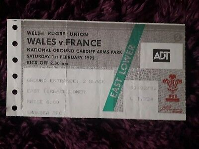 1992-Wales V France-Five-5 Nations-International Rugby Union Ticket