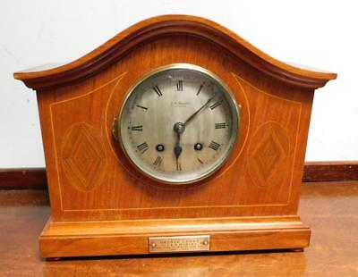 walnut inlaid mantel clock  benson london