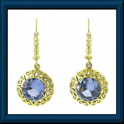 Ornate sparkling vivid yellow gold blue spinel dangle earrings M-F