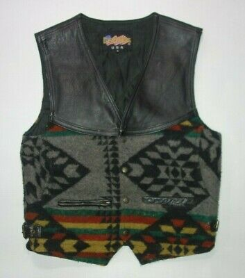 Vintage Easy Rider Leather Wool Motorcycle Vest Men S Southwest Pattern Snap Fro