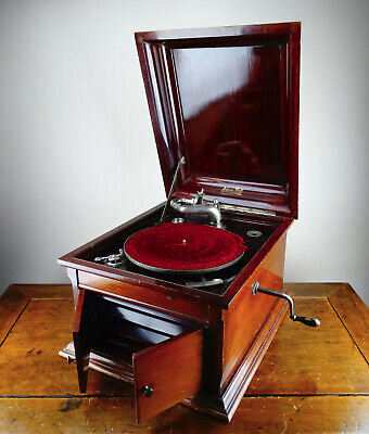 Antique Gramophone Edison Bell Discaphone Table Top Record Player Wind Up 78rpm