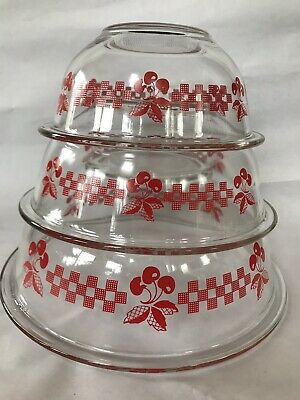 Red Cherries and Gingham Plaid Checker Set Three Pyrex Glass Mixing Bowls