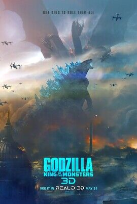 "Godzilla King of the Monsters Poster Movie 2019 Film 32x48"" 27x40"" 24x36"" Print"