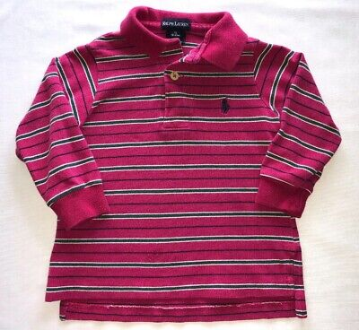 Polo Ralph Lauren 18 24 Month Baby Boy Pink Stripe Rugby Shirt Top L/S Navy Pony