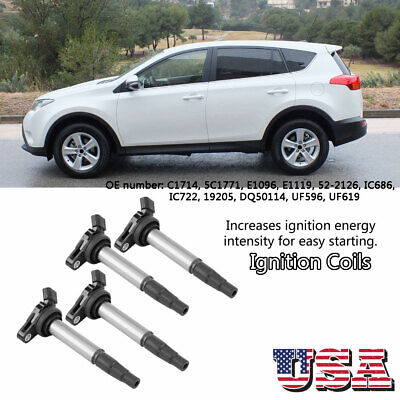 4 PCS  Car Ignition Coils Fit for Toyota Corolla Prius 1.8L L4 C1714 UF596 UF619