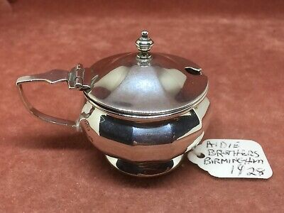 A Superb S/Silver Bulbous Faceted Mustard Pot by Aidie Bros. HM Birmingham 1928