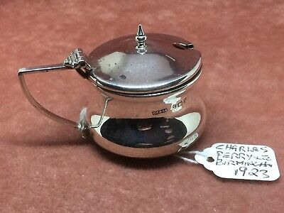 A Superb S/Silver Waisted Mustard Pot by Charles Perry & Co. HM Birmingham 1923